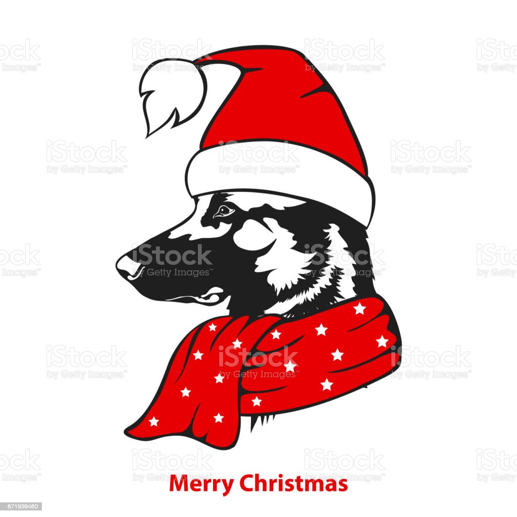 merry christmas happy new year greeting sheperd dog in santa xmas hat and scarf portrait vector ilustration vector art illustration