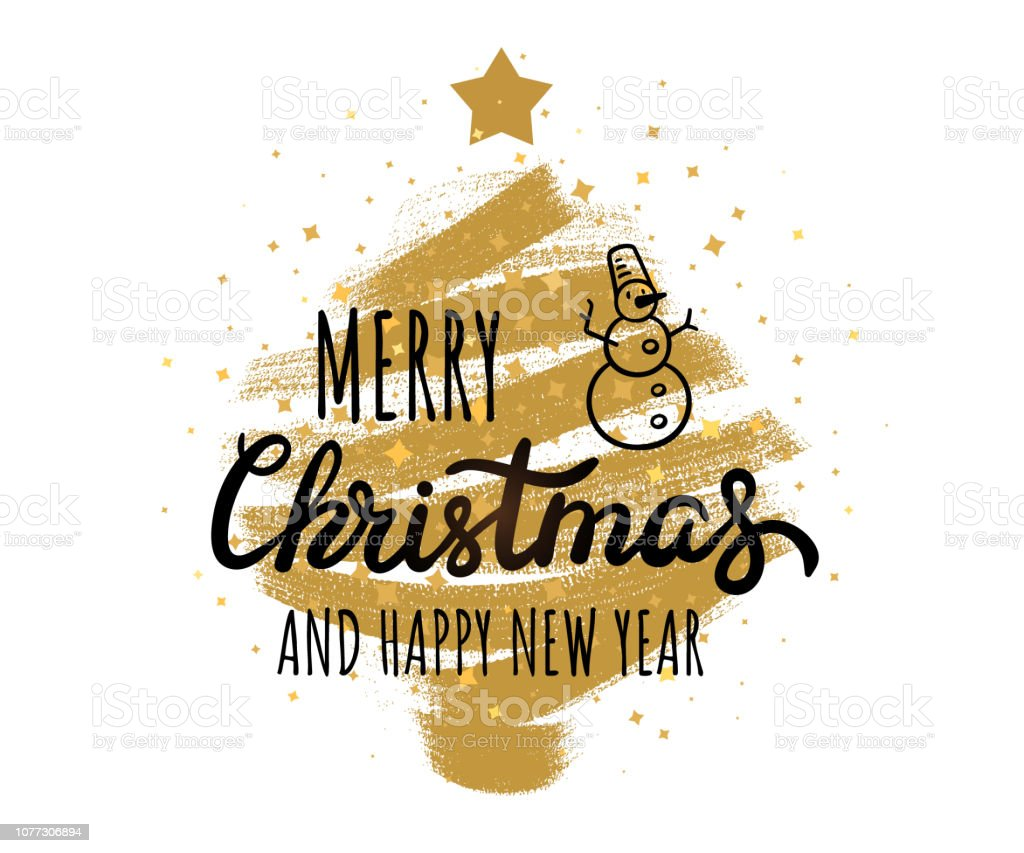 Frohe Weihnachten Clipart.Frohe Weihnachten Frohes Neues Jahr Hand Schriftzügen Grungy Textur