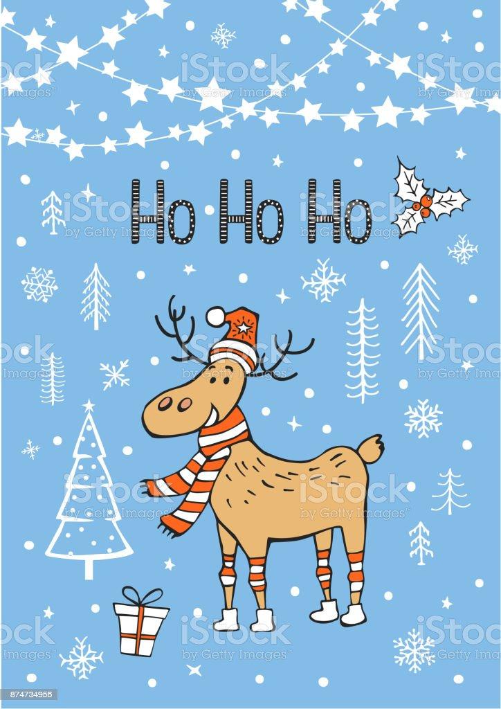Joyeux Noel Bonne Annee Hohoho Carte De Voeux Avec Cerf Dessin Anime