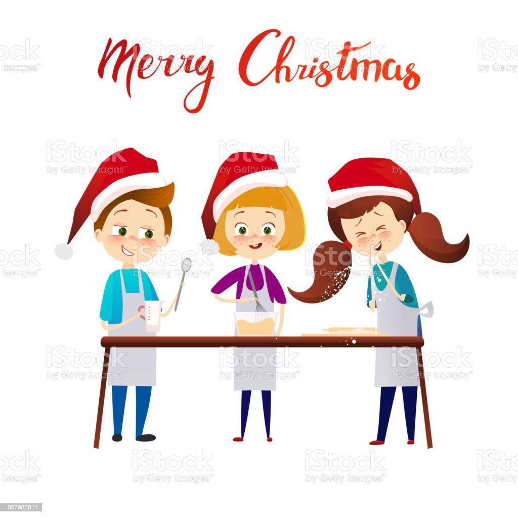 Ilustración De Feliz Navidad Feliz Año Nuevo A Los Niños Cocinar La