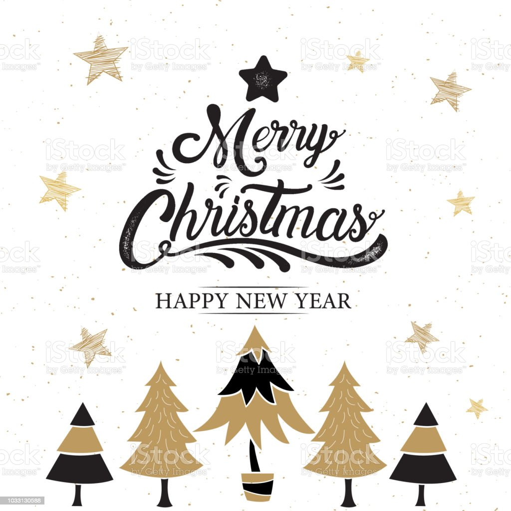 merry christmas happy new year logo symbol design gold vector illustration