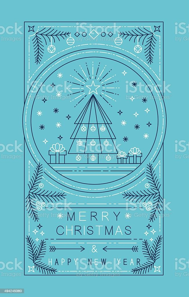 Merry christmas happy new year outline tree gifts vector art illustration