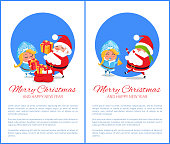 Merry Christmas and Happy New Year posters with Santa and Snow Maiden playing hide-and seek, put presents into sack vector cartoon characters with text