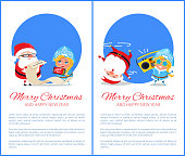 Merry Christmas and Happy New Year posters with Santa and Snow Maiden listening to music, dancing on head, reading wishes on paper scroll vector set