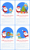 Merry Christmas and Happy New Year posters with Santa and Snow Maiden singing carol songs, decorating tree from ladder, hanging wreath, ride sleigh