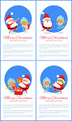 Merry Christmas and Happy New Year posters Santa and Snow Maiden merrily jumping, playing on trumpet, putting gifts and playing hide-and seek vector