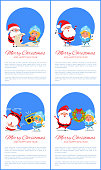 Merry Christmas and Happy New Year posters with Santa and Snow Maiden reading wish list, singing carol songs, dancing at retro music, hanging wreath