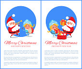 Merry Christmas and Happy New Year posters with Santa and Snow Maiden playing on trumpet and drum, put presents into red sack vector characters