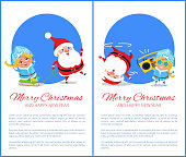 Merry Christmas and Happy New Year posters with Santa and Snow Maiden listening to music, dancing on head, riding on sleigh vector cartoon characters