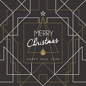 Merry christmas and happy new year holiday greeting card. Geometry lines, art deco style with vintage xmas pine tree. EPS10 vector.
