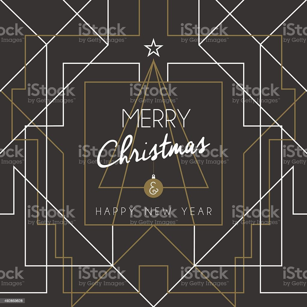 Merry christmas happy new year tree art deco line vector art illustration