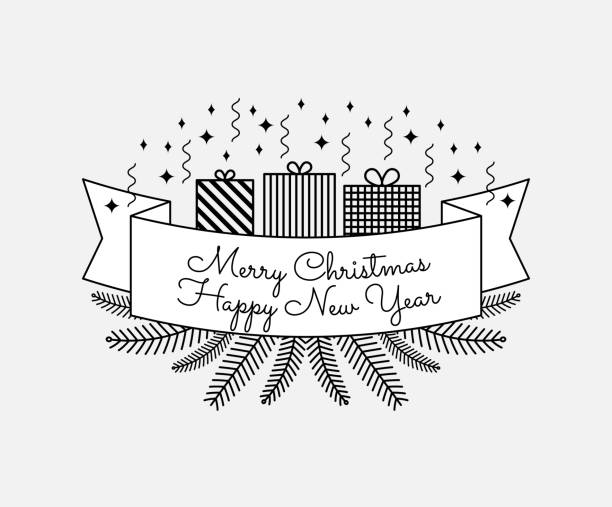 black and white vintage poster merry christmas clip art vector images illustrations merry christmas happy new year