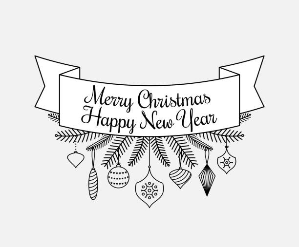 merry christmas happy new year typographic badges collection vector art illustration
