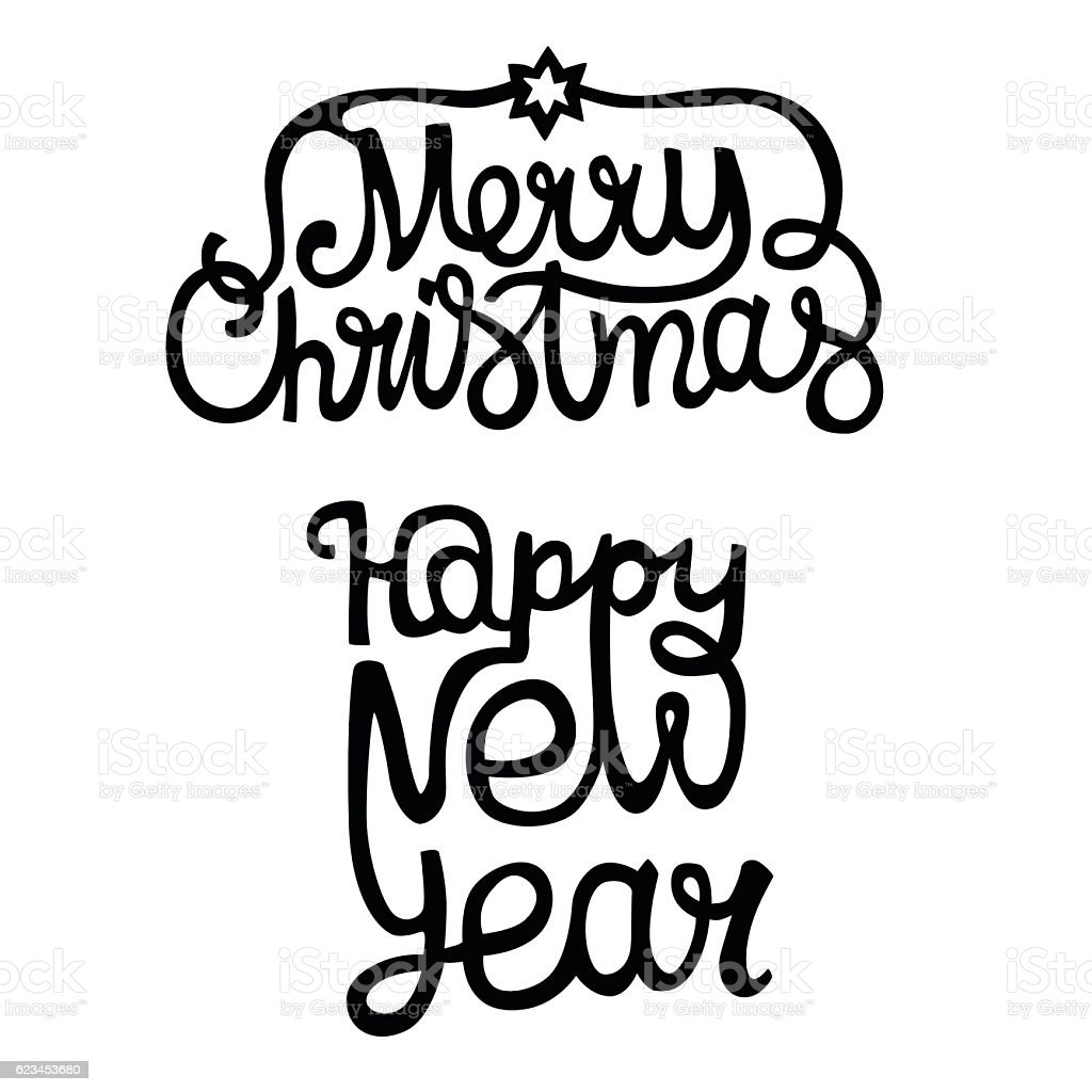 merry christmas happy new year vector text royalty free stock vector art