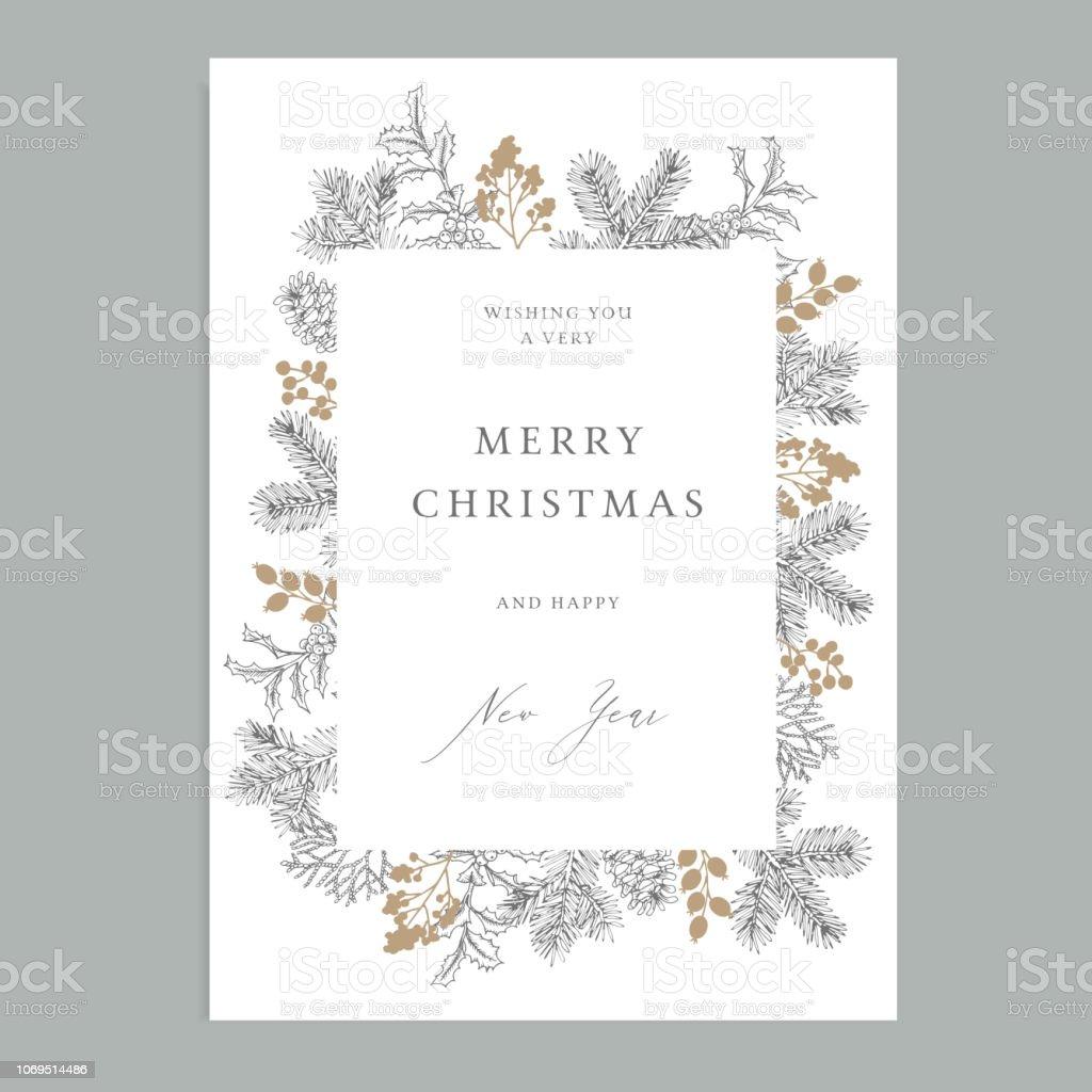 God jul, gott nytt år vintage blommig gratulationskort, inbjudan. Holiday ram med vintergröna fir trädgrenar, holly bär och kottar. Elegant gravyr illustration, vinter design. - Royaltyfri Barrväxter vektorgrafik