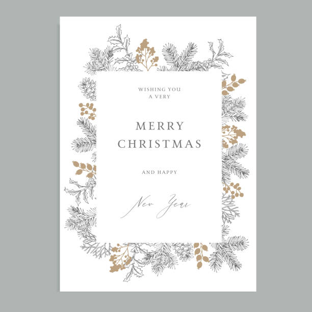 merry christmas, happy new year vintage floral greeting card, invitation. holiday frame with evergreen fir tree branches, pine cones and holly berries. elegant engraving illustration, winter design. - merry christmas stock illustrations