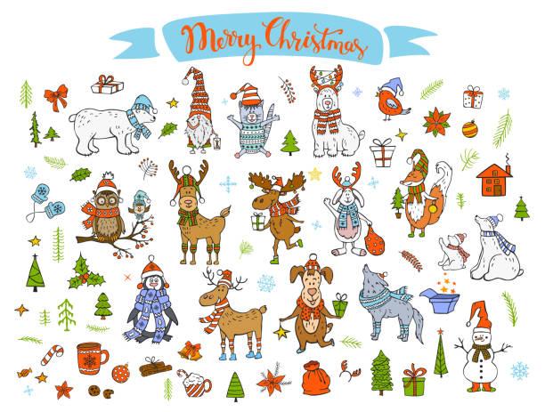 bildbanksillustrationer, clip art samt tecknat material och ikoner med god jul gott nytt år vintern tecknad söt roliga djur i santa hattar halsdukar med presenterar samling. isbjörnar, ren, rådjur, räv, katt, hund, varg, kanin, pingvin, uggla, fåglar, gnome, snögubbe och xmas hand dras dekorationer set - hund skog