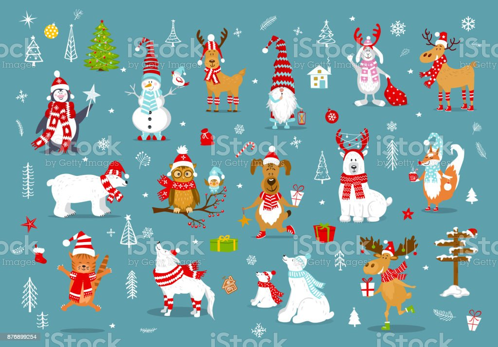 merry christmas  happy new year winter cartoon cute funny animals in santa hats scarfs with presents collection.