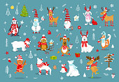 merry christmas  happy new year winter cartoon cute funny animals in santa hats scarfs with presents collection. polar bears, reindeer, deer, fox, cat, dog, wolf, rabbit, penguin, owl, birds, gnome , snowman and xmas graphic decorations set