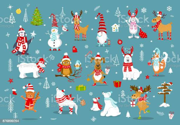 Merry christmas happy new year winter cartoon cute funny animals in vector id876899254?b=1&k=6&m=876899254&s=612x612&h=fi7exvofqod eiwdaqrbe0ehtaeqvok8 j n0mzdj5y=