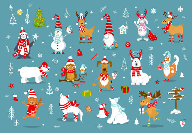 merry christmas  happy new year winter cartoon cute funny animals in santa hats scarfs with presents collection. - reindeer stock illustrations