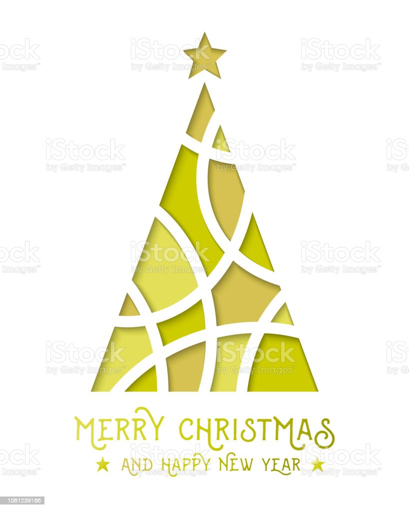 Merry Christmas Happy New Year With Abstract And Gold Christmas Tree