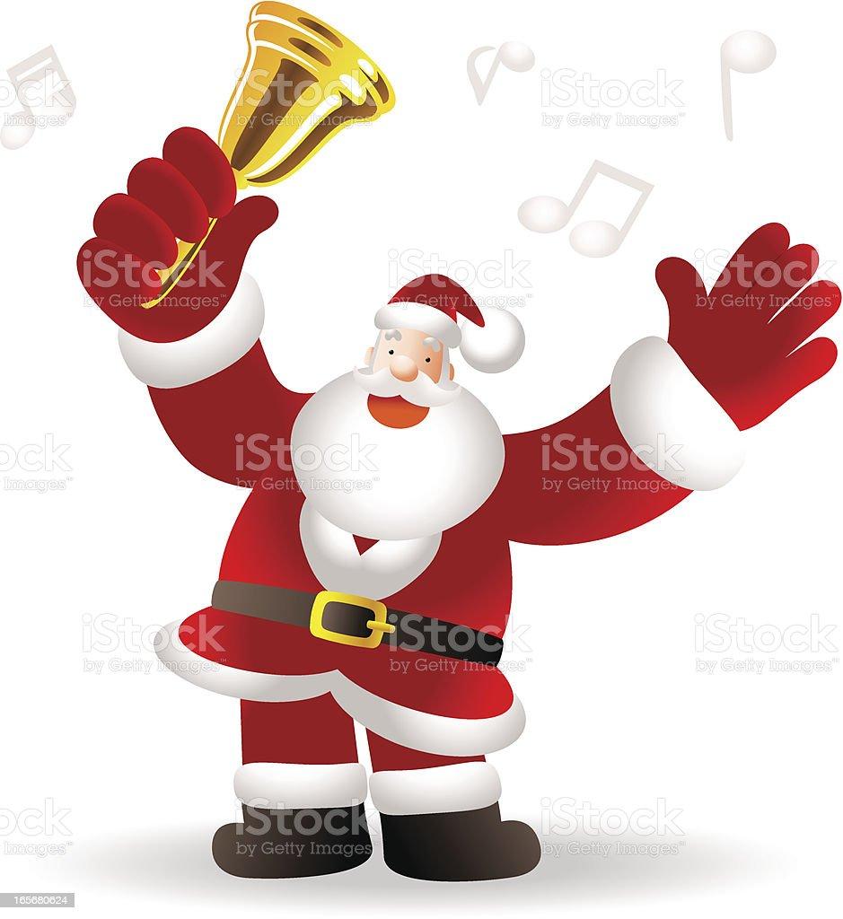 Merry Christmas: Happy Santa Claus Greeting, Shaking Jingle Bell royalty-free stock vector art