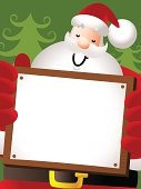 Vector illustration - Merry Christmas: Happy Santa Claus Holding A Blank Sign.