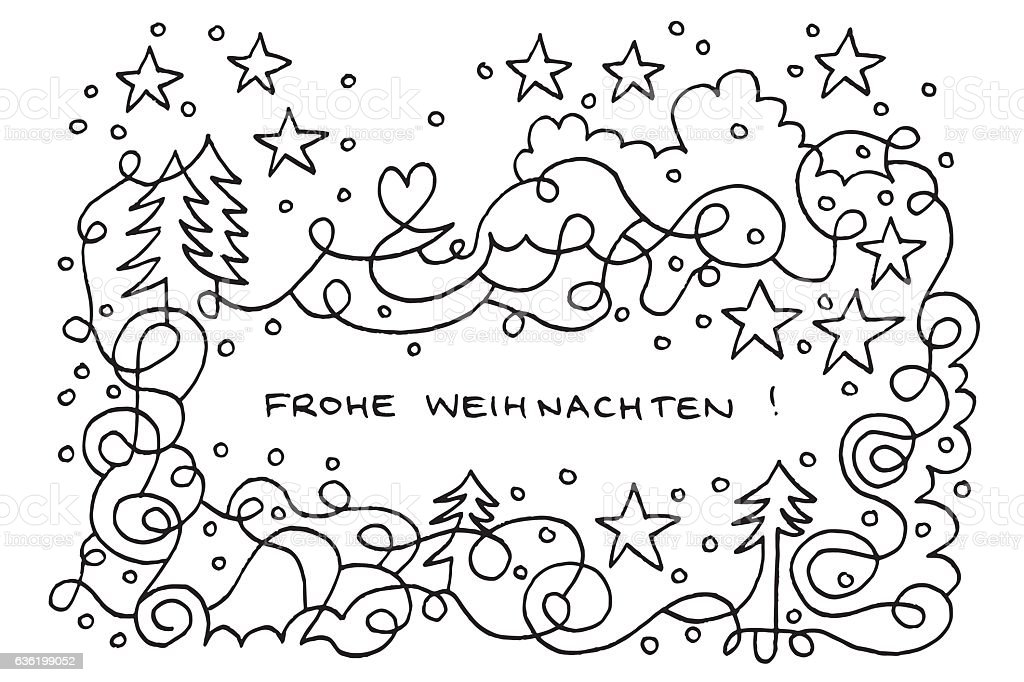 Frohe Weihnachten Happy Winter Wonderland Doodle Drawing - Векторная графика Pen And Marker роялти-фри