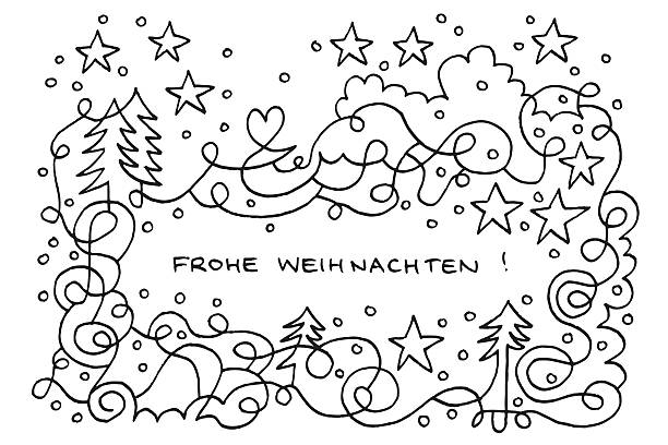 frohe weihnachten happy winter wonderland doodle drawing - weihnachten stock illustrations