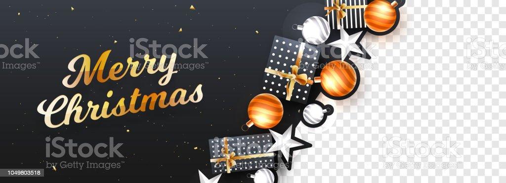 Joyeux Noël Entête Ou Une Bannière Design Décorée Déléments
