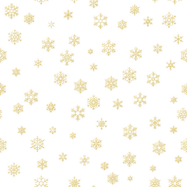 Merry Christmas holiday decoration effect. Golden snowflake seamless pattern. EPS 10 Merry Christmas holiday decoration effect. Golden snowflake seamless pattern. EPS 10 vector file fragility stock illustrations
