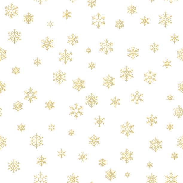 stockillustraties, clipart, cartoons en iconen met merry christmas holiday decoratie-effect. gouden sneeuwvlok naadloze patroon. eps 10 - breekbaarheid