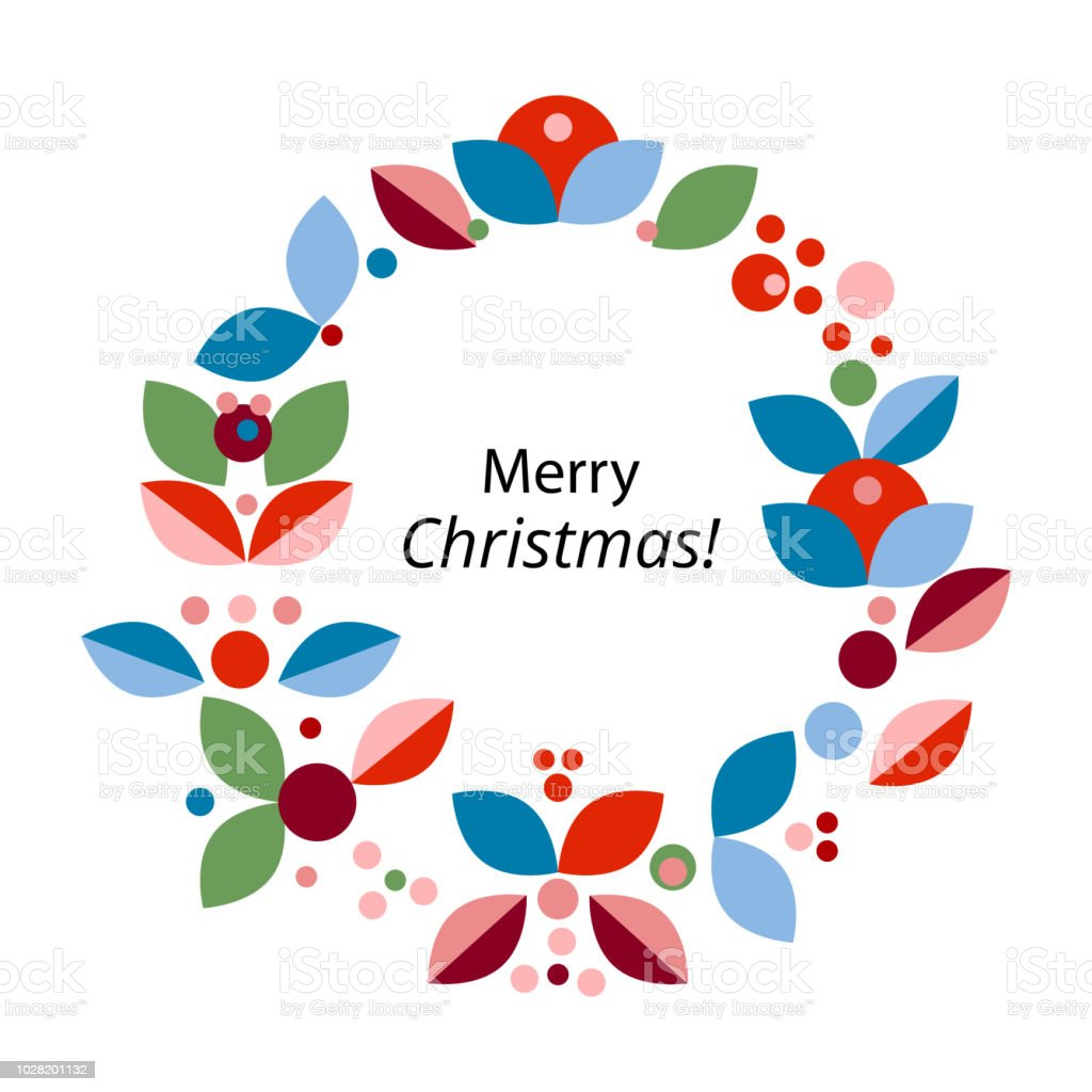 Merry Christmas Holiday Floral Flat Geometric Wreath Stock Vector ...