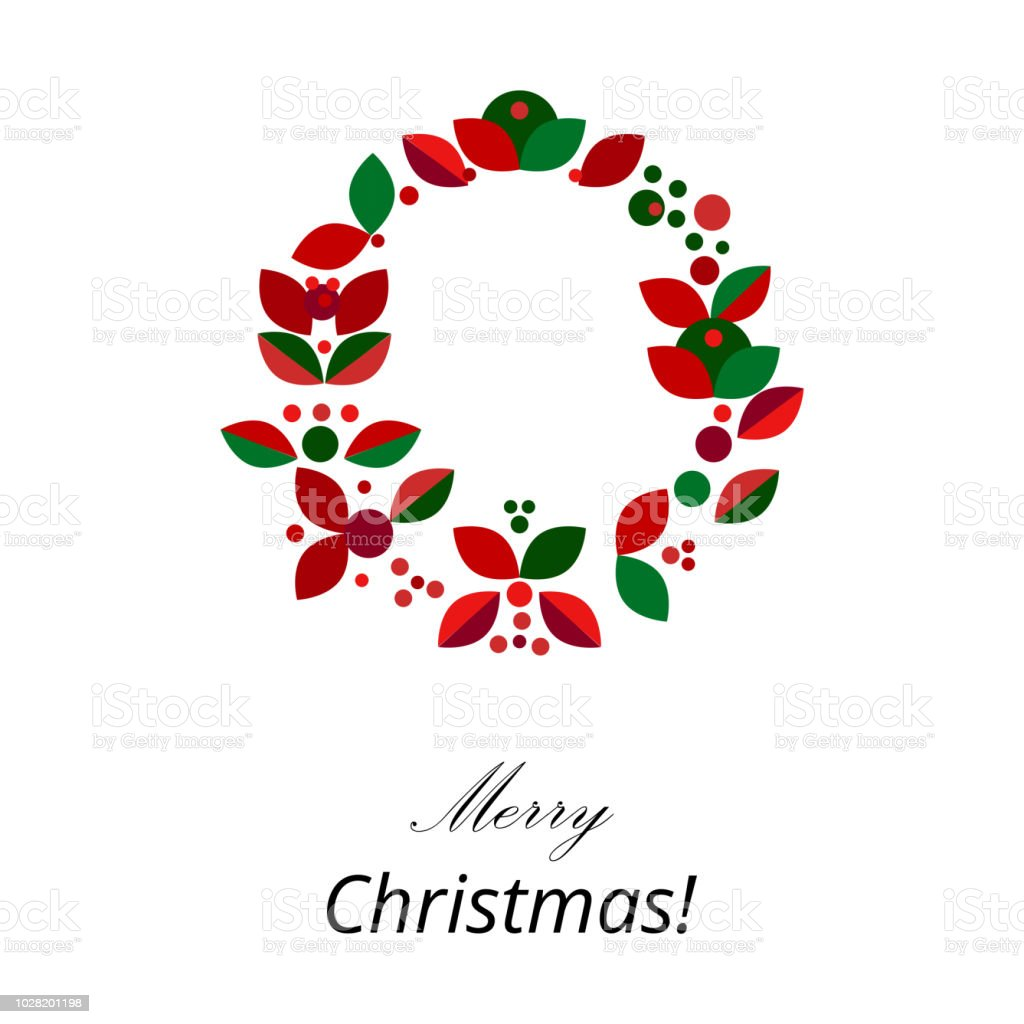 Merry Christmas Holiday Floral Flat Geometric Wreath Stock Illustration Download Image Now Istock