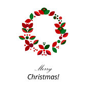 Merry Christmas Holiday Floral Geometric Wreath in minimal style