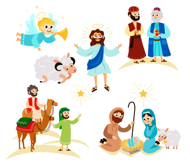 ilustrações de stock, clip art, desenhos animados e ícones de merry christmas holiday set of flying angel and jesus christ story - evangelho