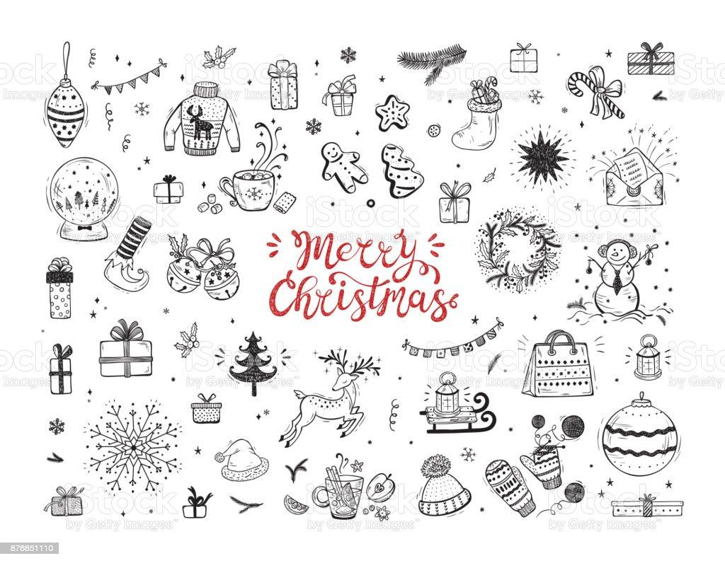 Feliz Navidad. Vacaciones Vector gran Set de mano dibujado Doodle Navidad personajes y decorados con letras de mano caligráfica. Tarjeta de felicitación de Navidad plantilla. Cartel feliz de vacaciones de invierno. Año nuevo - ilustración de arte vectorial