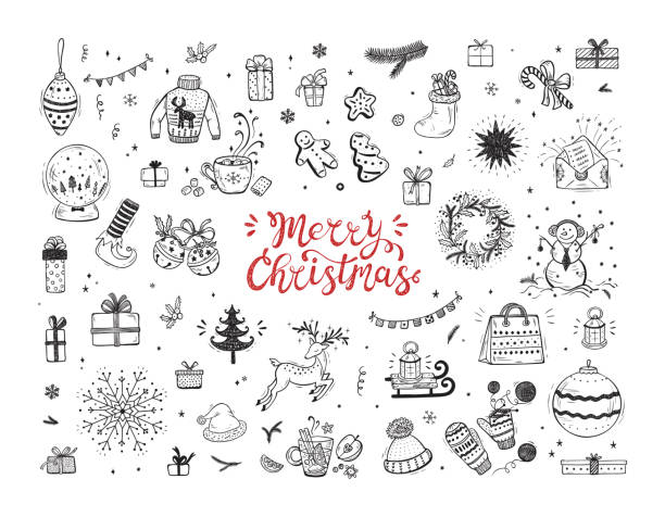 Merry Christmas. Holiday Vector Big Set of Hand Drawn Doodle Christmas characters and decorations with hand lettering calligraphic. Xmas greeting Card Template. Happy Winter Holidays poster. New year Merry Christmas. Holiday Vector Big Set of Hand Drawn Doodle Christmas characters and decorations with hand lettering calligraphic. Xmas greeting Card Template. Happy Winter Holidays poster. New year mitten stock illustrations