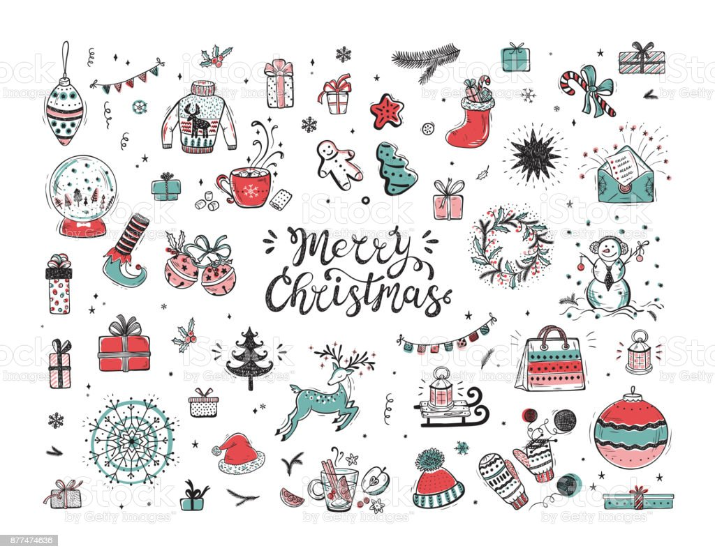 Holiday Vector Big Set Of Hand Drawn Doodle Christmas Characters And Decorations With