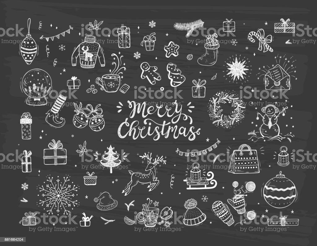 Ilustración de Feliz Navidad Vacaciones Vector Grande Set De Mano ...