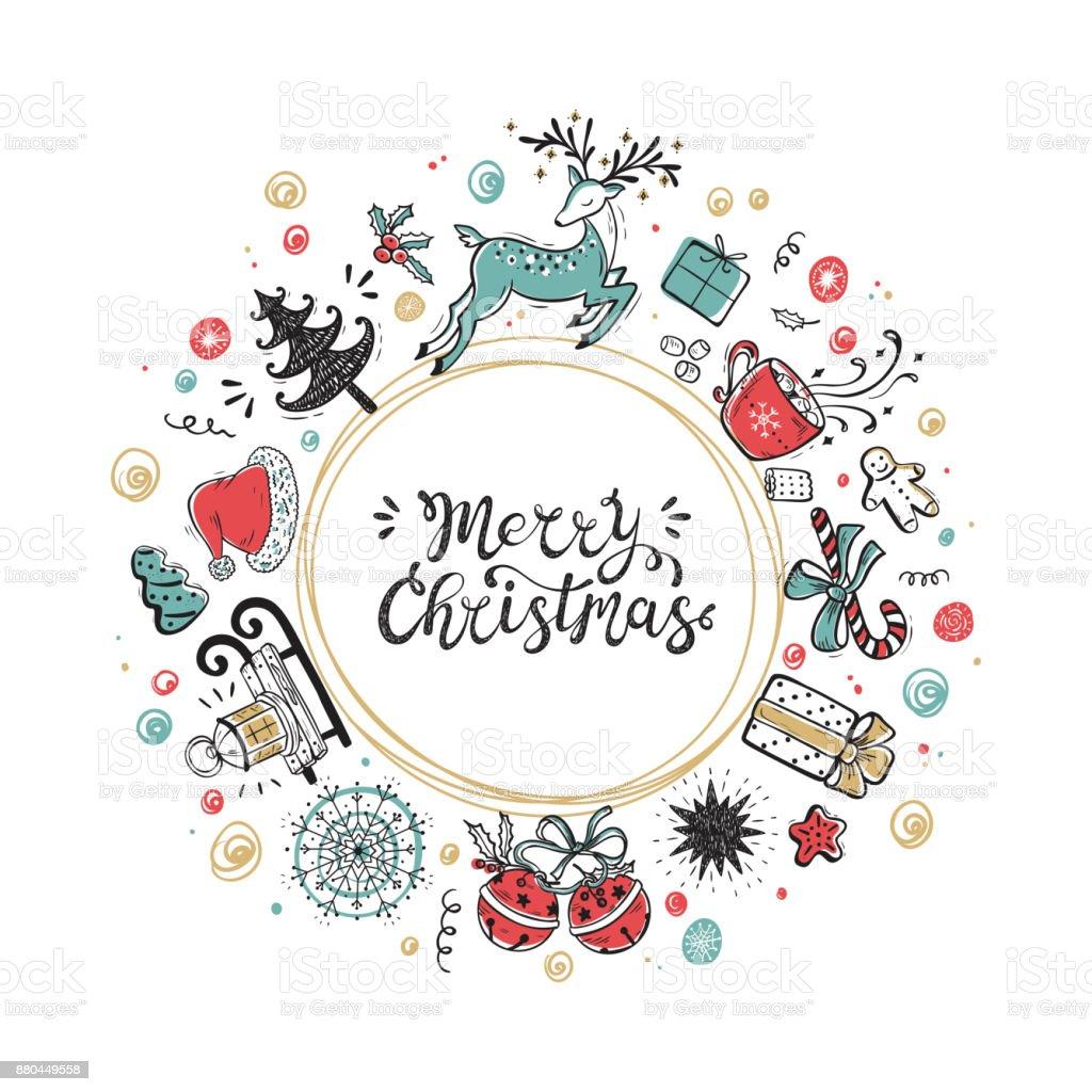 Frohe Weihnachten Urlaub Vektor Runden Rahmen Der Weihnachtsschmuck ...
