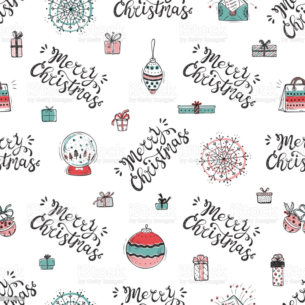 Merry Christmas Holiday Vector Seamless Pattern Hand Drawn Doodle Decorations With Lettering
