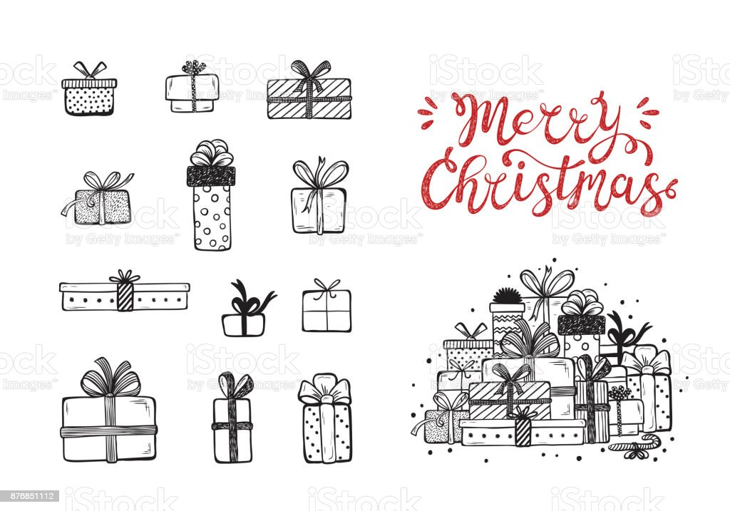 Merry Christmas. Holiday Vector Set of Hand Drawn Doodle Christmas and New Year Gift boxes with hand lettering calligraphic. Xmas greeting Card Template. Happy Winter Holidays poster - Grafika wektorowa royalty-free (Bazgroły - Rysunek)