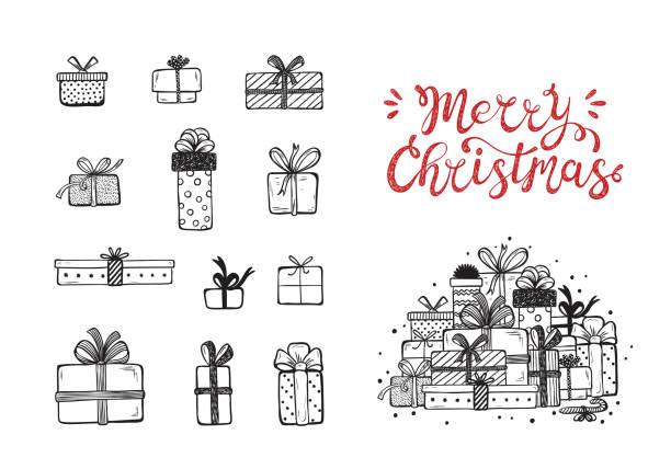 frohe weihnachten. urlaub vektor eingestellt von hand gezeichnet doodle weihnachten und neujahrsgeschenk-boxen mit kalligraphischen hand schriftzug. weihnachts-grußkarte vorlage. glücklich winterurlaub plakat - weihnachtsgeschenk stock-grafiken, -clipart, -cartoons und -symbole