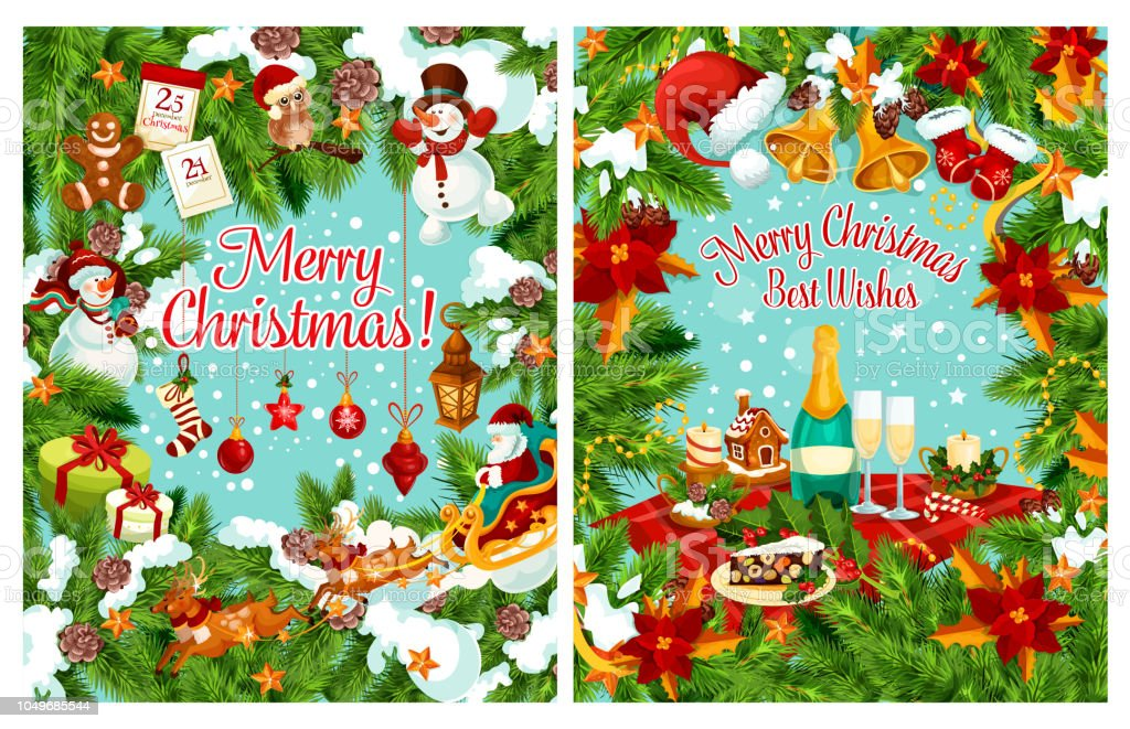 Frohe Weihnachten Wunsch.Merry Christmas Greeting Card For Winter Holiday Celebration Happy