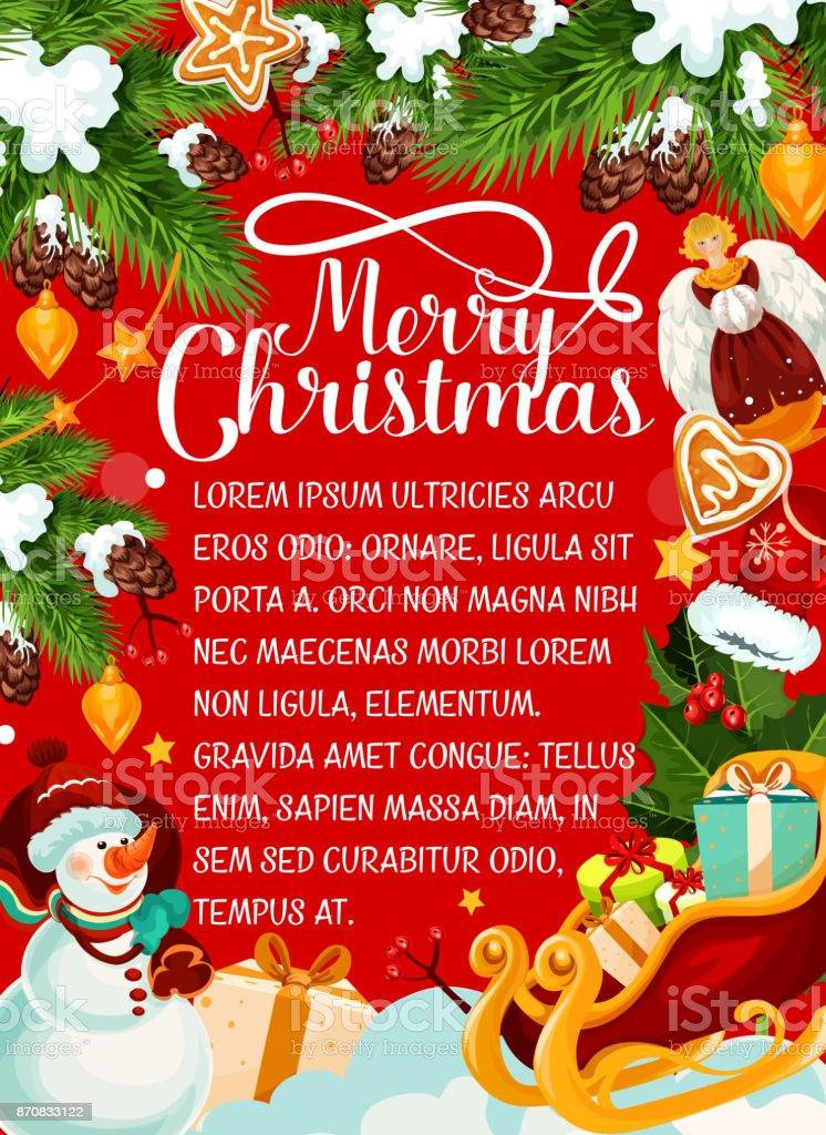 Frohe Weihnachten Wunsch.Frohe Weihnachten Urlaub Wunsch Vektor Grusskarte Stock