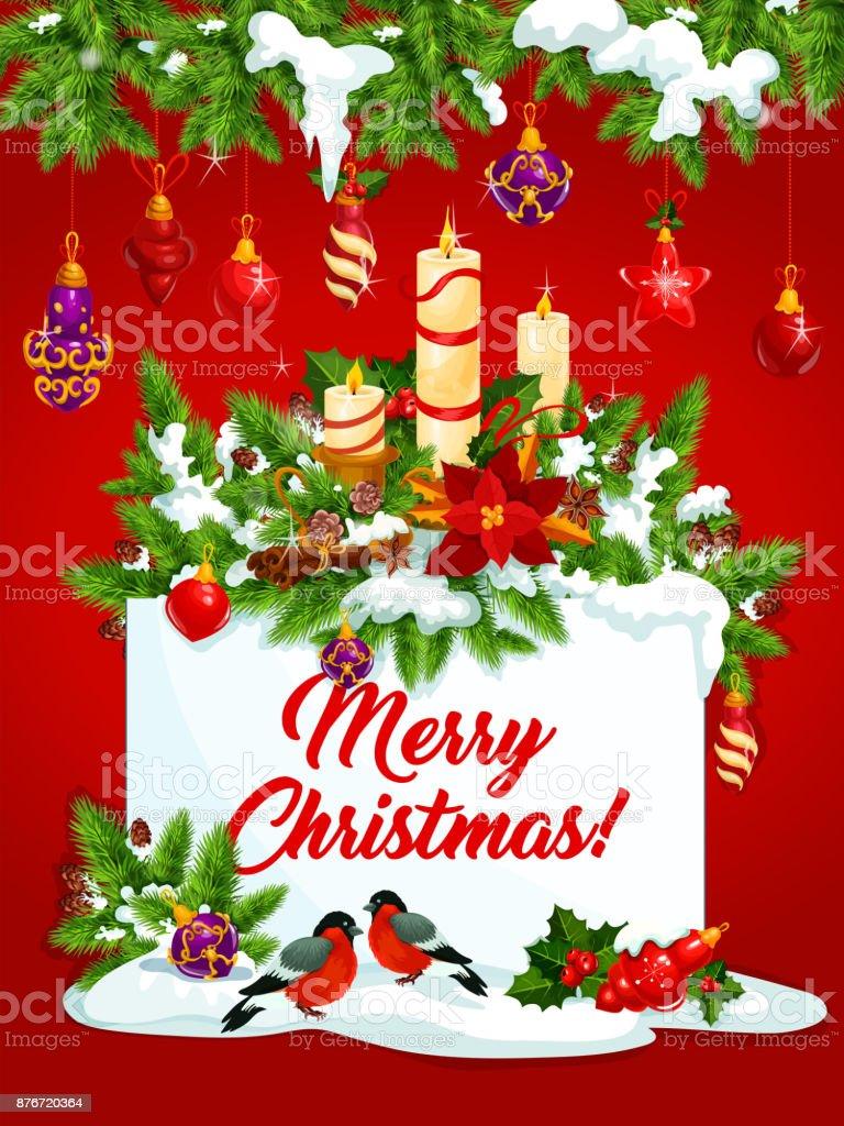 Frohe Weihnachten Urlaub Wunsch Vektor Grußkarte Stock Vektor Art ...