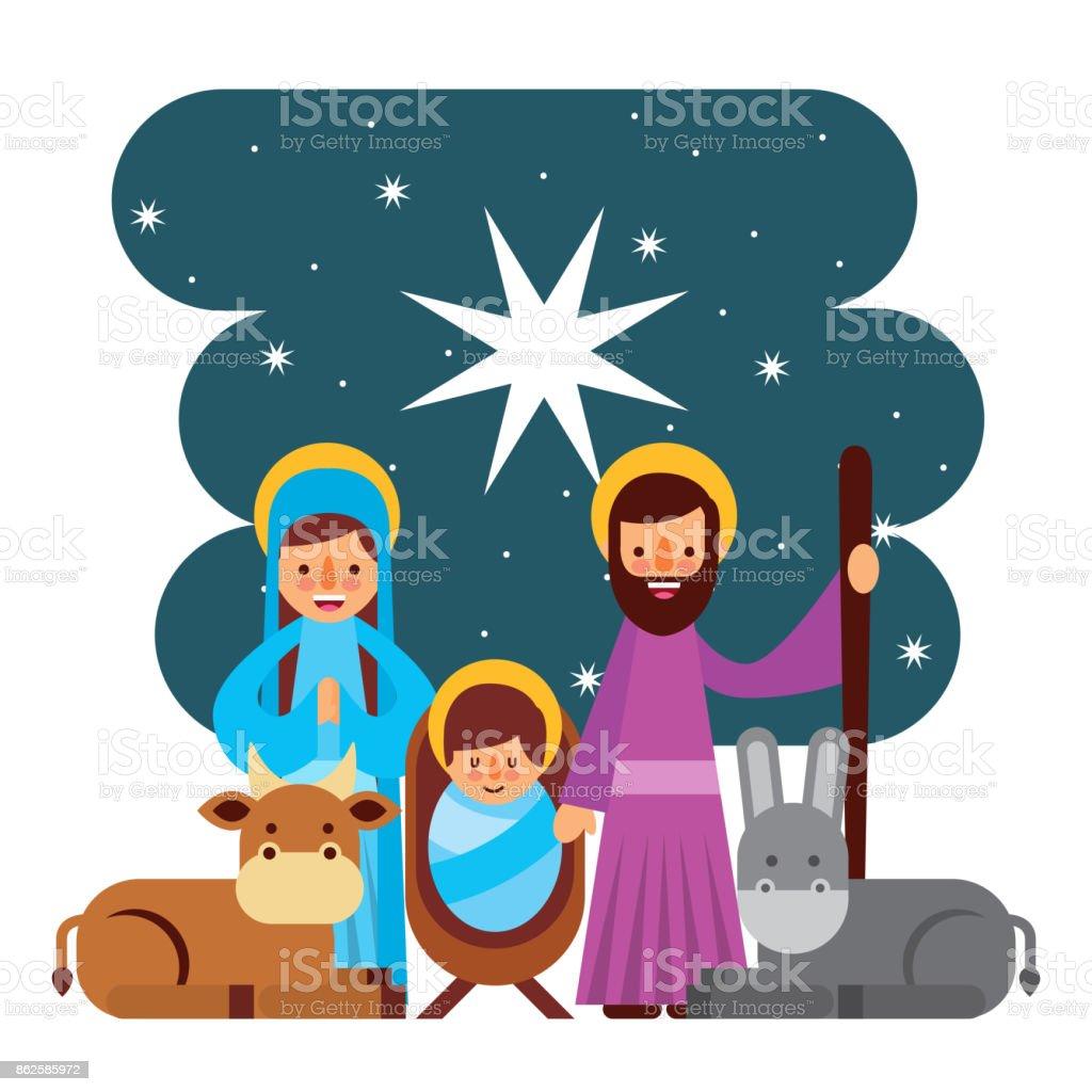 Frohe Weihnachten Familie.Frohe Weihnachten Heilige Familie Traditionelle Religiöse Szene Der