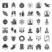 Merry Christmas icon set glyph design